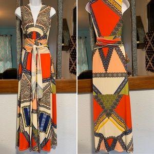 Boston Proper Scarf Print Maxi Dress Women Small